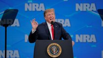 U.S. President Donald Trump gestures as he addresses the 148th National Rifle Association (NRA) annual meeting in Indianapolis, Indiana, U.S., April 26, 2019.