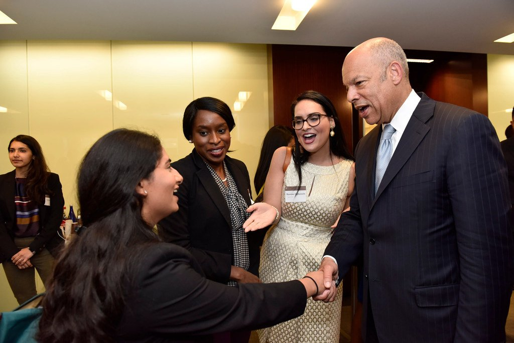 Secretary Jeh Johnson speaks with conference participants
